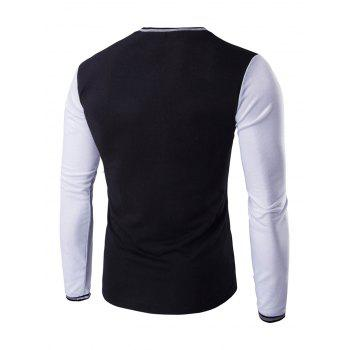 Buttons Design Casual Long Sleeves T-Shirt - WHITE/BLACK M