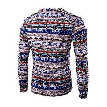 Ethnic Style Long Sleeve Striped Tee - BLUE 2XL