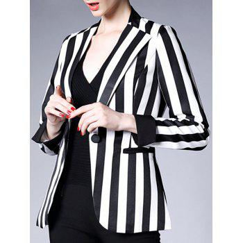 Lapel Collar One Button Striped Blazer