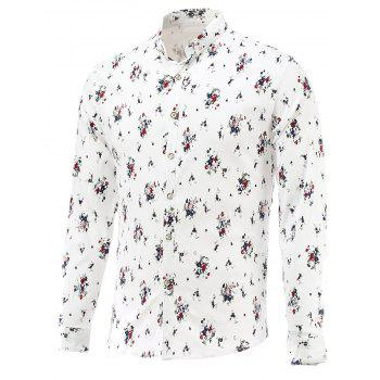 Turn-Down Collar Long Sleeve Tiny Floral Printed Shirt