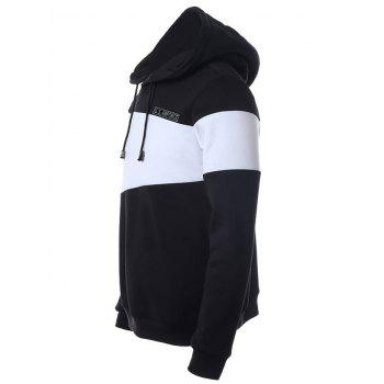 Color Splicing Letter Print Long Sleeve Drawstring Hoodie - BLACK XL