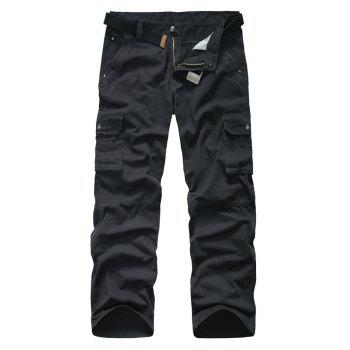 Snap Button Pocket Rivet Zipper Fly Cargo Pants