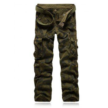 Rivet Embellished Camo Multi-Pocket Zipper Fly Cargo Pants