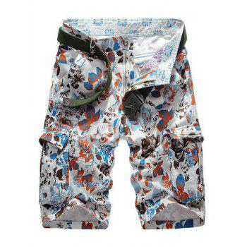 Multi Pockets Zipper Fly Floral Print Cargo Shorts