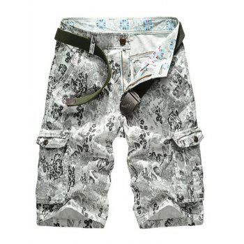 Buy Floral Printed Multi Pockets Zipper Fly Cargo Shorts GRAY