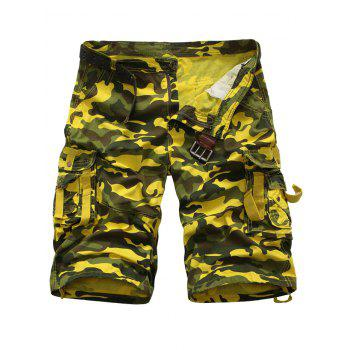 Zipper Fly Camouflage Multi Pockets Cargo Shorts