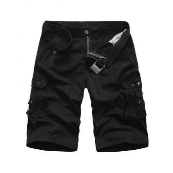 Multi Pockets Zipper Fly Rivet Embellished Cargo Shorts
