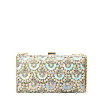 Rhinestone Faux Pearl Evening Bag - GOLDEN GOLDEN