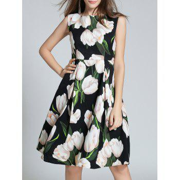 Sleeveless Pocket Design Floral Print Dress