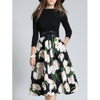 High-Waisted Splicing Floral Print Dress