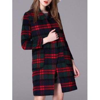 Plaid Loose-Fitting Pocket Design Coat - CHECKED L