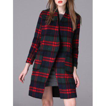 Plaid Loose-Fitting Pocket Design Coat