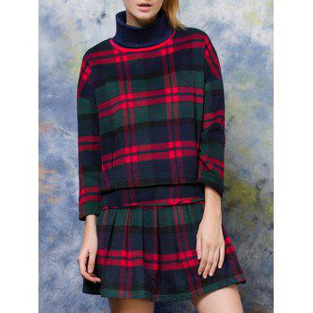 Turtle Neck Plaid Pullover + High Waist Slimming Skirt Twinset - CHECKED CHECKED