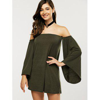 Off The Shoulder Bell Sleeve Mini Dress