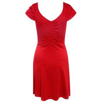 Cape Sleeve V Neck Ruched Mini Dress - RED 2XL
