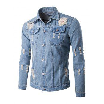 Mid-Wash Frayed Design Denim Jacket