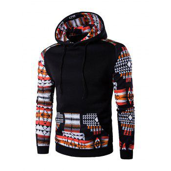 Buy Geometric Print Patchwork Design Hoodie BLACK