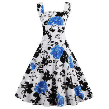 Square Neck Floral Print Sleeveless Pin Up Dress