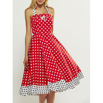 Retro Style Polka Dot Lace-Up Splicing Dress