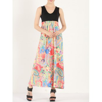 Bohemian Colorful Paisley Print Maxi Dress