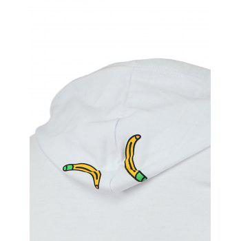 Banana and Letter Print Plus Size Hooded Long Sleeve Men's Hoodie - WHITE M