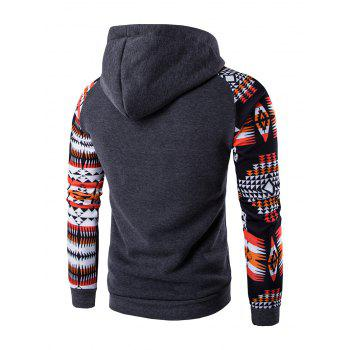 Geometric Print Patchwork Design Hoodie - DEEP GRAY XL