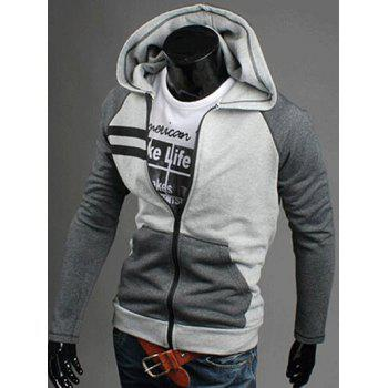 Zipper Flying Patchwork Design Casual Hoodie - GRAY M