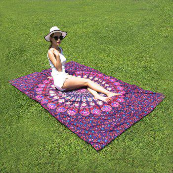 Ethnic Style Seductive Mandala Yoga Mat Gypsy Cotton Tablecloth Beach Throw Shawl Wrap Scarf - PURPLE