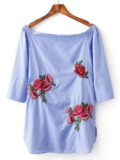 Floral Embroidery Striped Blouse - BLUE M