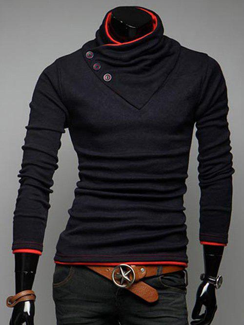 Cowl Collar Slim Fit Casual Sweatshirt - RED 2XL