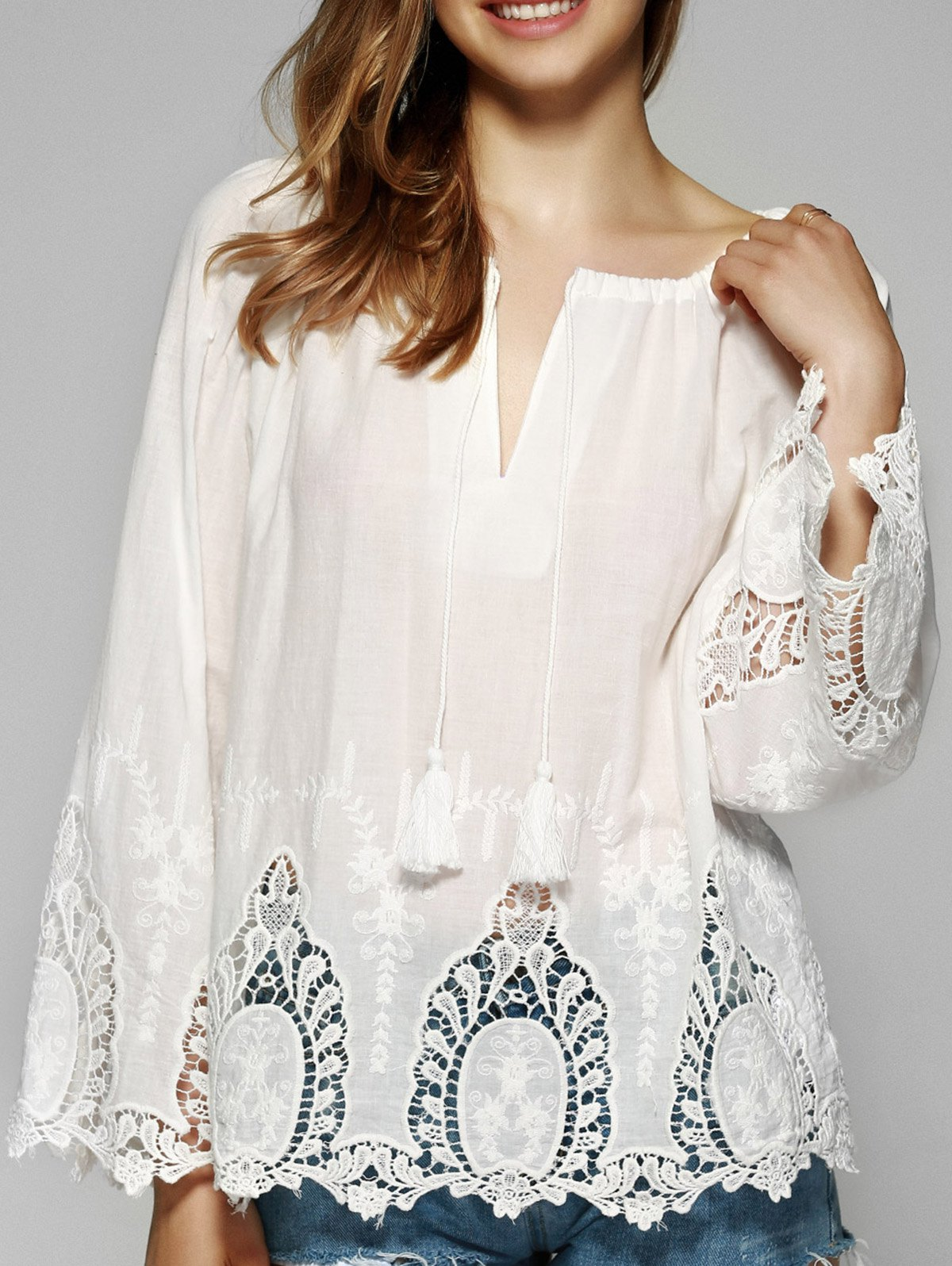 Sweet Flare Sleeve Lace Patchwork Blouse - WHITE XL