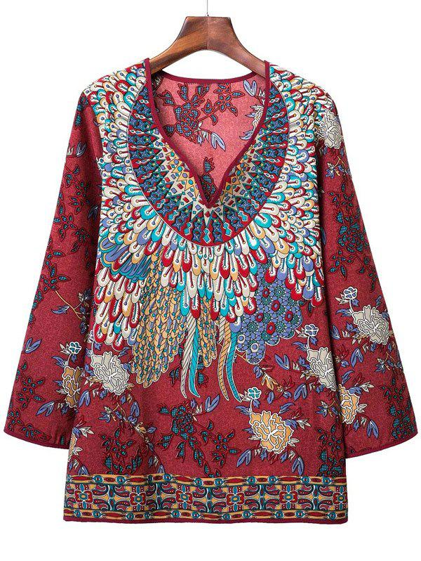 Loose-Fitting Tribal Pattern Blouse - DARK RED L