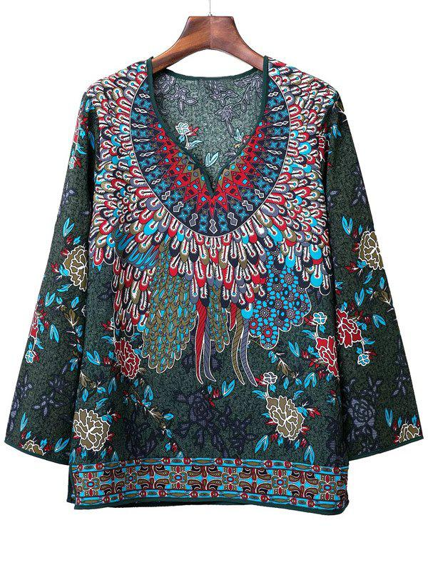 Loose-Fitting Tribal Pattern Blouse - GREEN L