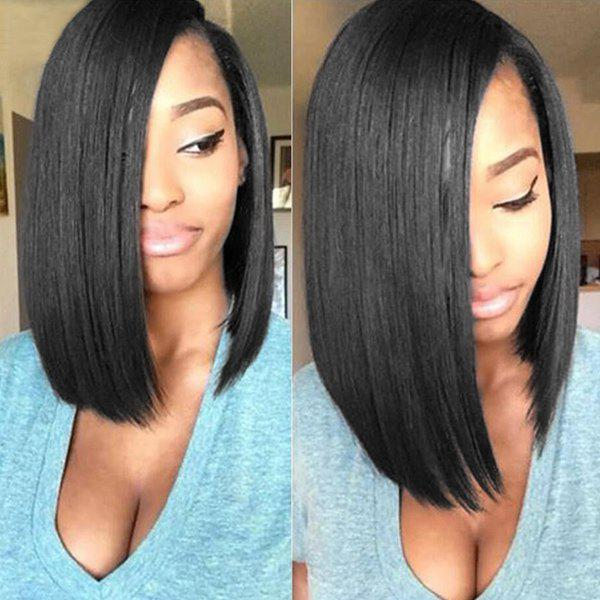 Medium Straight Side Parting Capless Human Hair Wig - JET BLACK