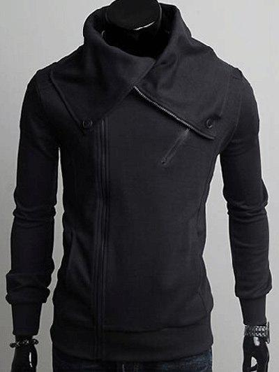 Wide Lapel Collar Zippers Design Hoodie - DEEP GRAY 2XL
