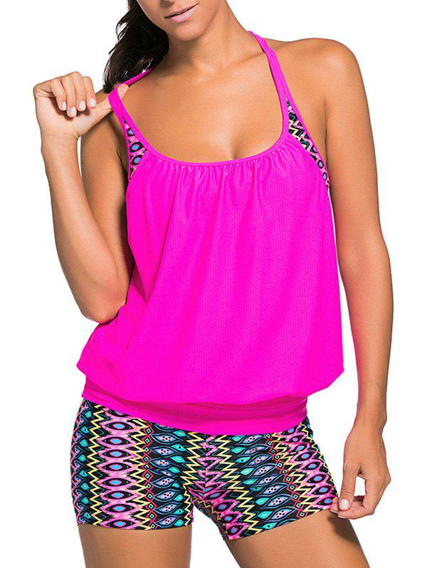 Racerback Blouson Tankini Swimsuit With Boxers - ROSE RED 3XL