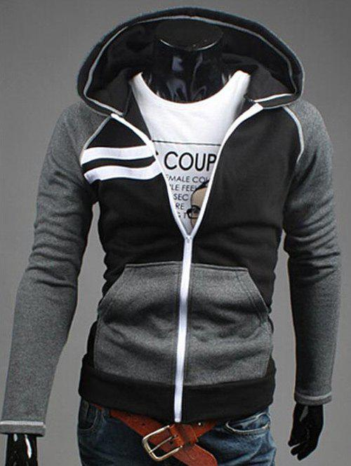 Zipper Flying Patchwork Design Casual Hoodie - BLACK 2XL