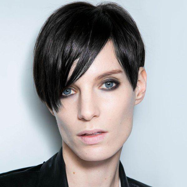 Short Straight Side Bang Capless Human Hair Wig - JET BLACK