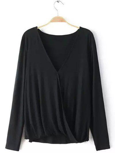 Plunging Neck Long Sleeves Wrap Blouse - BLACK XL