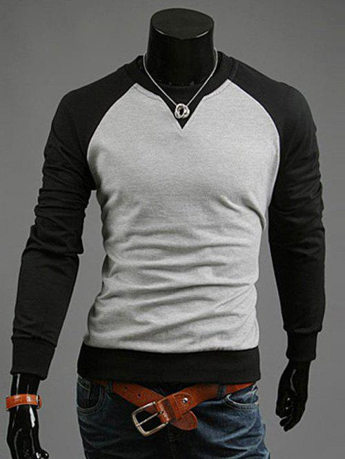 Color Blocks Spliced Casual Sweatshirt - BLACK L