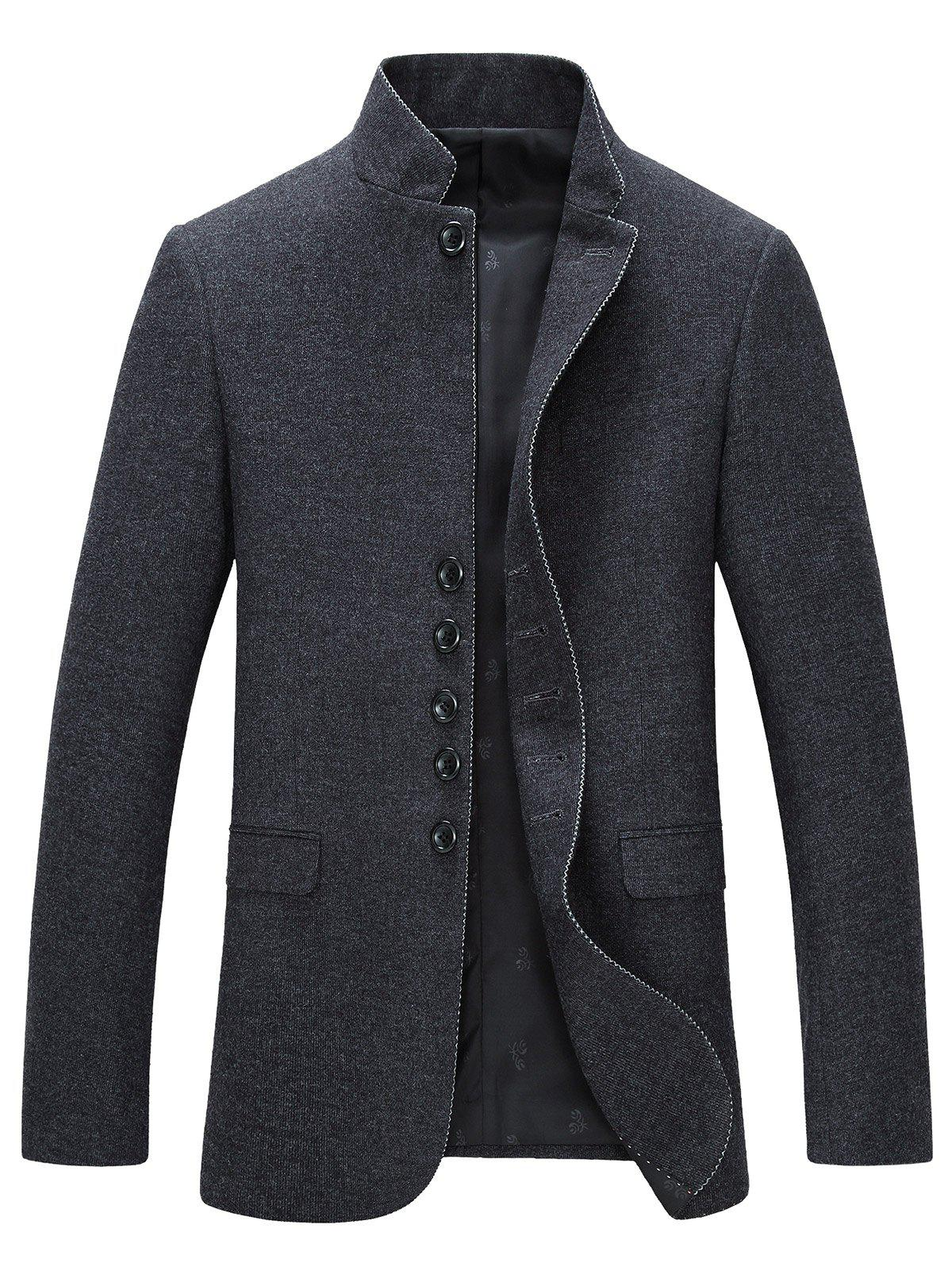 Stand Collar Long Sleeve Single-Breasted Blazer - GRAY 3XL