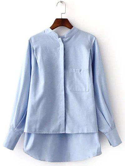 Pocket Design High-Low Shirt - BLUE L