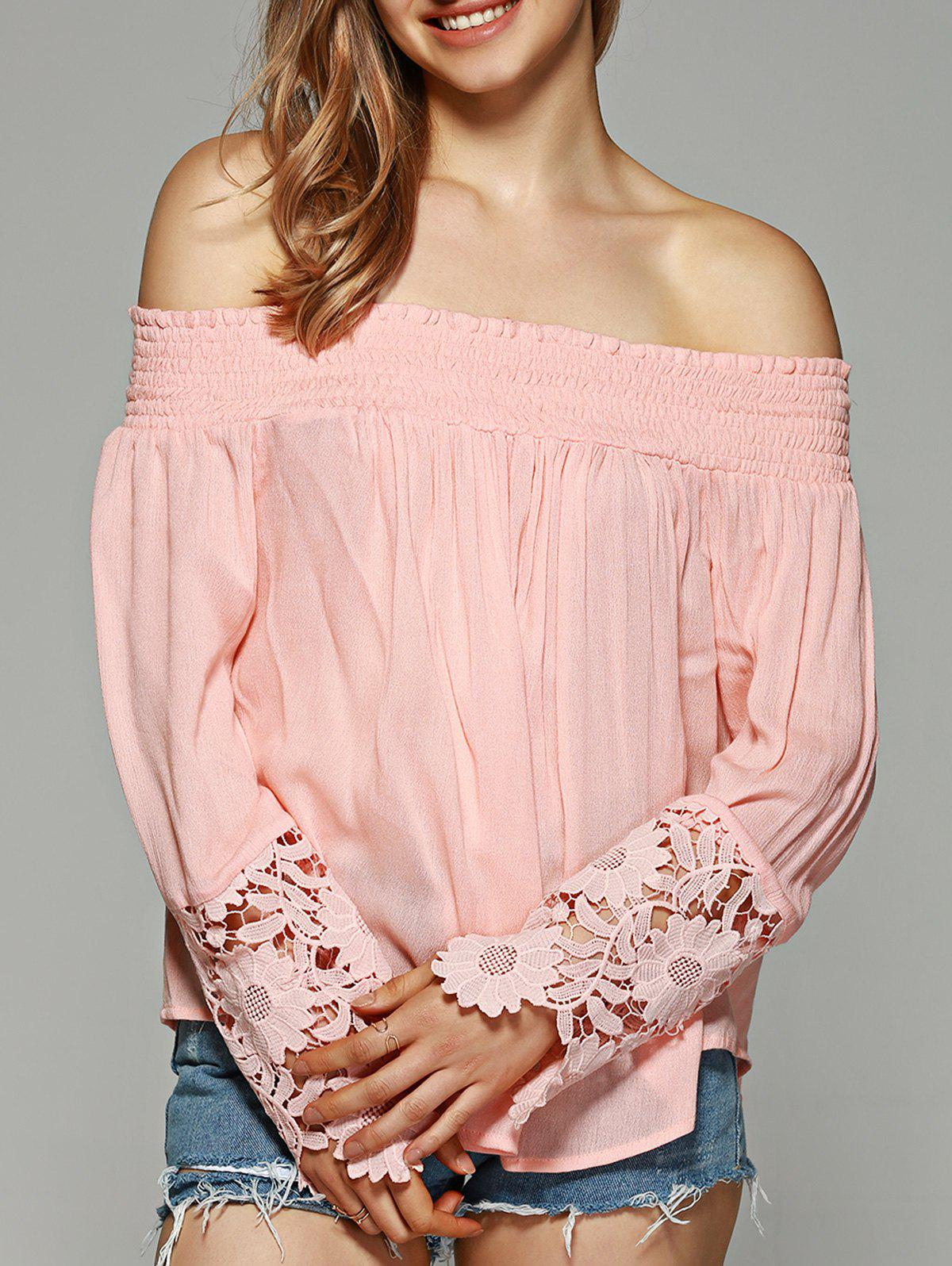 Off-The-Shoulder Lace Sleeve Blouse - SHALLOW PINK XL