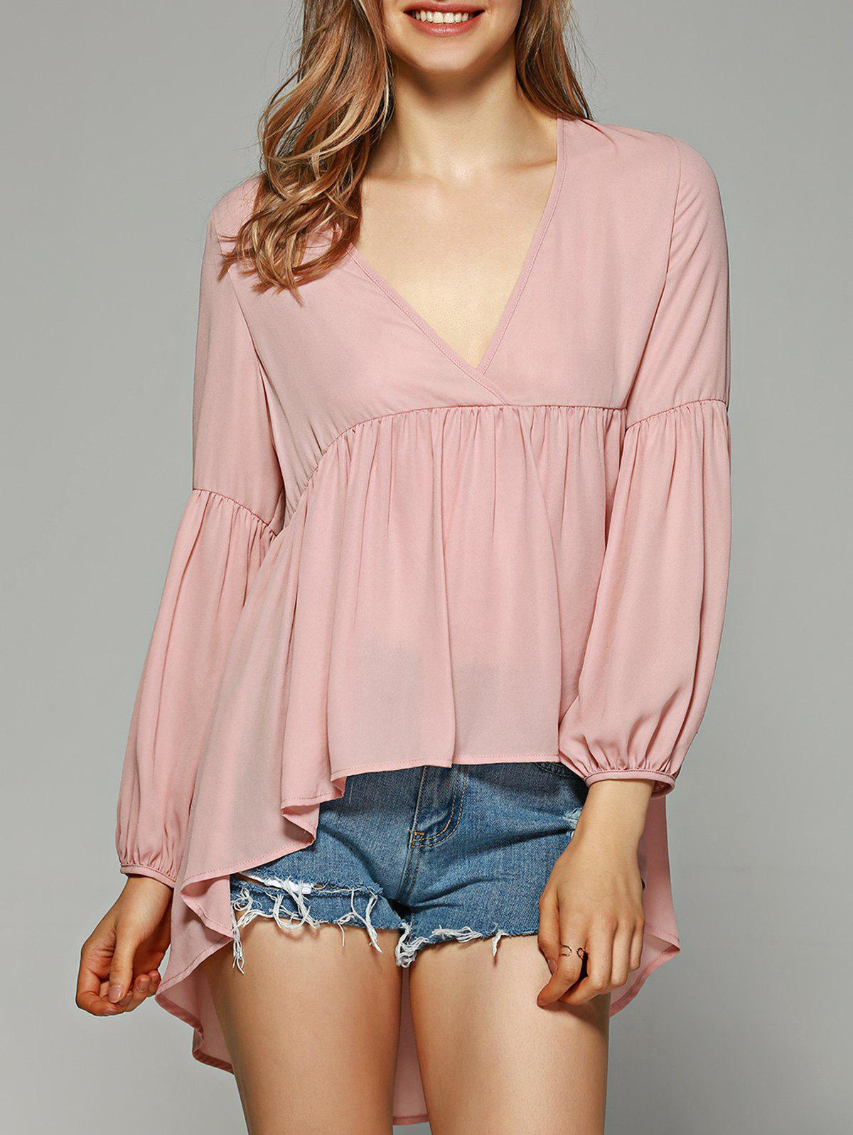 Low Cut High Low Hem Blouse - SHALLOW PINK XL