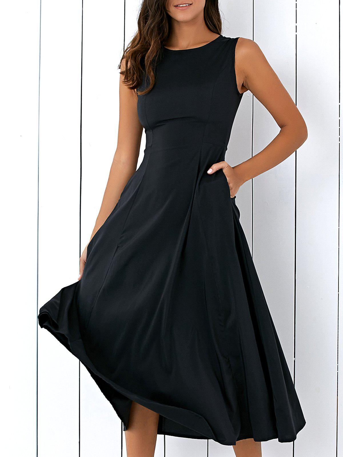 Casual Loose Fitting Tea Length Dress - BLACK L