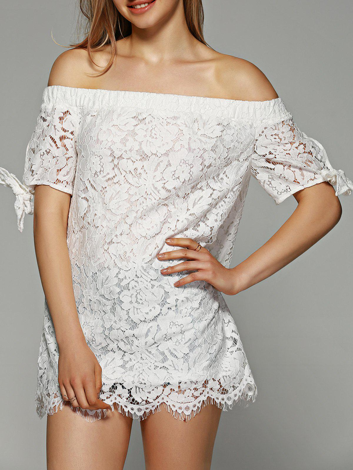 Off-The-Shoulder Tie-Sleeve Lace Blouse - WHITE XL
