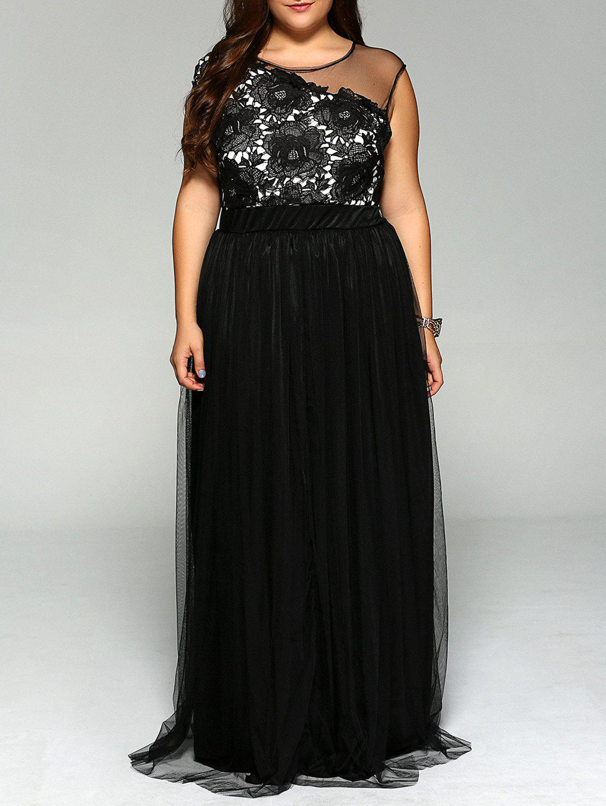 Plus Size Lace Splicing Sleeveless Dress - 3XL BLACK