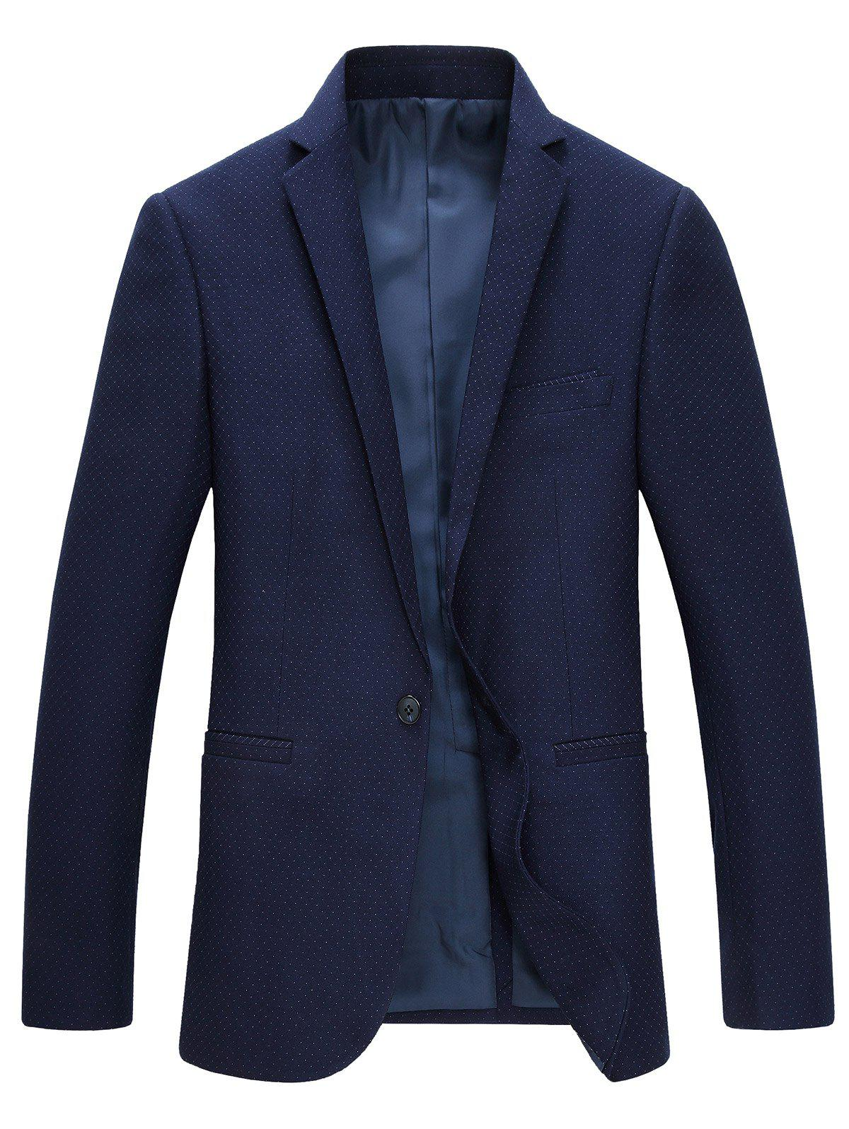 Lapel Long Sleeve One Button Blazer - CADETBLUE 3XL