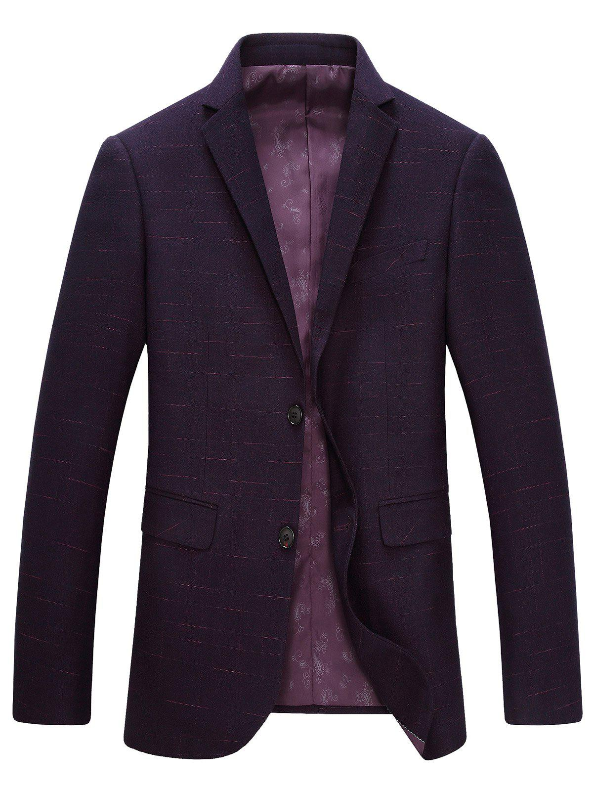 Lapel Long Sleeve Single-Breasted Blazer - PURPLISH RED 3XL
