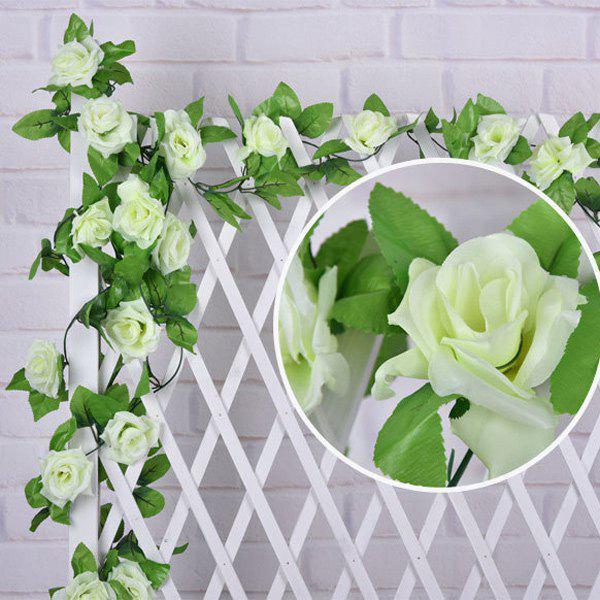 Wall Decor Wedding Party Fake Rose Rattan Artificial Flower - WHITE
